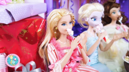 芭比公主为露娜庆生 送礼物唱生日歌吃蛋糕大家欢乐开怀