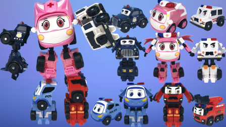 警车联盟,汽车变形机器人五合体玩具。小芸救护车