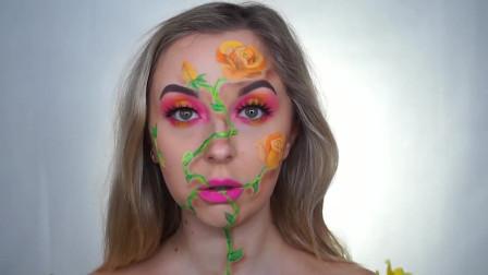 脸部彩绘,在脸上化上花朵,十分的美丽
