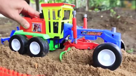 学习认识翻斗车平地车挖掘机压路机 快来看看它们怎么工作的吧