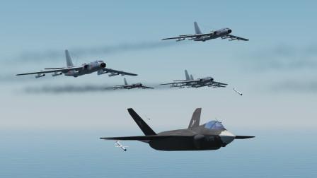 30架歼31,跟20架轰6K配合作战!打击敌方军事基地!会成功吗?战争模拟