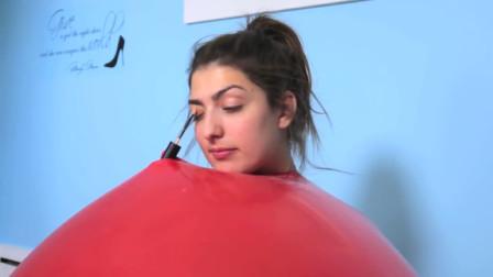 """美女穿""""气球""""化妆,身材轮廓一目了然,效果不容小觑!"""