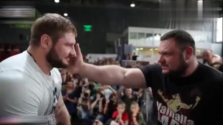 俄罗斯独有的扇耳光大赛,个个面红脖子粗!肌肉男被一掌打蒙!