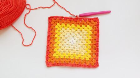 钩针编织圈钩回字正方形花样上手简单效果惊艳新手编织全教程