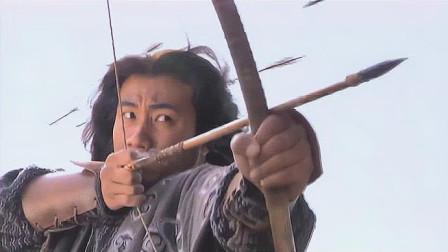 天龙八部:乔峰从马上飞起来,一箭过去穿透盾牌,直取楚国世子的小命