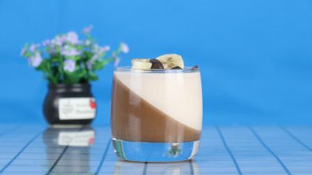 香蕉巧克力慕斯杯,一个杯中两种口味,做法简单好吃不腻