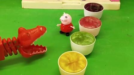 小鳄鱼看见很多果汁,佩奇说那些不能喝,还说里面藏东西了