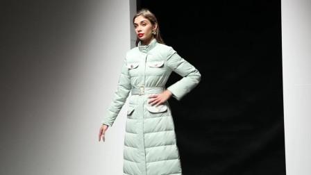 2019冬装新款欧美时尚气质豆沙绿毛领系带立领中长款羽绒服外套
