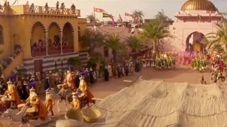 阿拉丁扮成富有的王子与苏丹王见面,谁知穷小子状况百出,要灯神帮他圆着