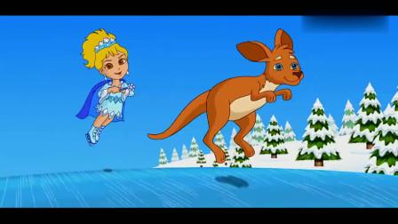 爱探险的朵拉:朵拉正在练习很特别的花式滑冰动作,一起来看看吧