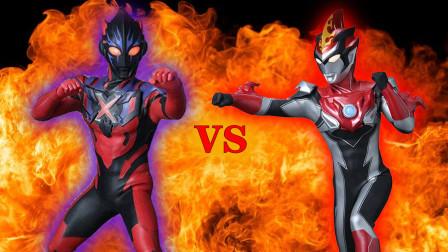 布鲁奥特曼烈火形态VS黑暗艾克斯!奥特曼格斗进化0修改皮肤包!