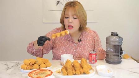 大胃王胖妹,爆吃炸鸡腿,这体格也太能吃了吧
