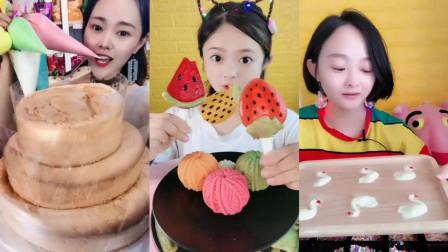 吃播:小姐姐直播吃三层奶油蛋糕,草莓果冻,西瓜果冻