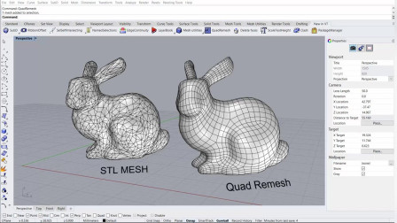 QuadReMesh  - Rhino 7 WIP 开发版中的逆向与几何拓扑工具