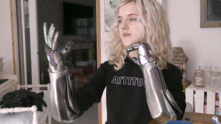 """15岁断臂小美女,脑电波控制机械手臂,现实版""""战斗天使"""""""