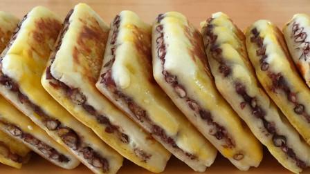 红豆饼不要出去买了,没有技巧,教你在家做,酥脆又香甜