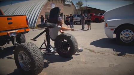 老外给汽车后轴装转椅,汽车一跑它就转,刚坐上去就被甩飞了!