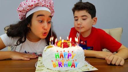 太厉害!萌宝小萝莉如何制作生日蛋糕呢?最后小正太会喜欢吗?儿童亲子游戏玩具故事
