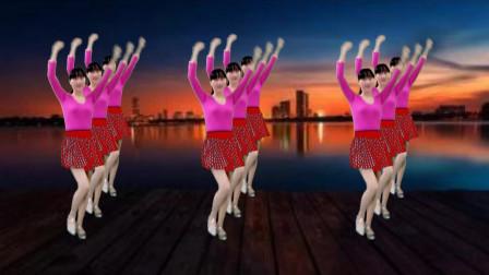 广场舞纯音乐版《又见山里红》16步,好听又好看,一看就会!