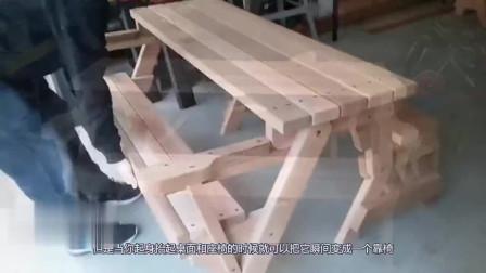 40岁大叔发明折叠桌椅,会变形的椅子,一物两用,一个月赚20万