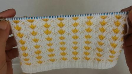 毛线编织教程,水草花图案的针织方法,适合新手入门学习!