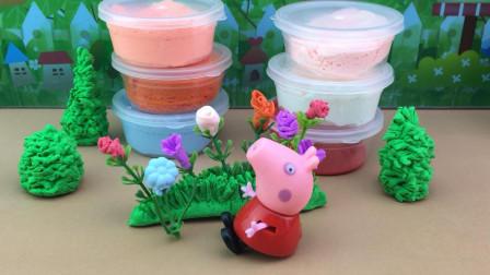 手工DIY玩具分享,小猪佩奇制作超轻黏土花朵!