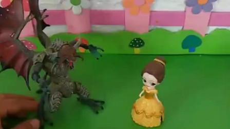 怪兽把公主们都抓了,猪妈妈就想救三位公主,结果怪兽不愿意