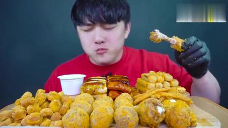 大胃王美食吃播,韩国小哥吃年糕,芝士球,炸鸡