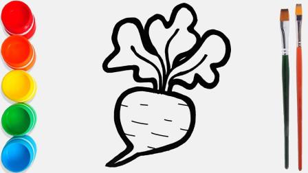 手工绘画蔬菜红萝卜和牛角包