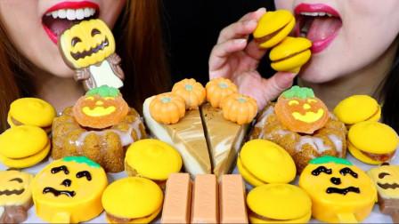 行旅天下 美女吃一桌明黄色甜品大餐,全部是南瓜的造型