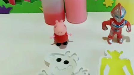 少儿益智亲子玩具:小猪佩奇要和奥特曼比赛谁做的布丁好看,奥特曼要给自己换身衣服,大家觉得哪个好看呢