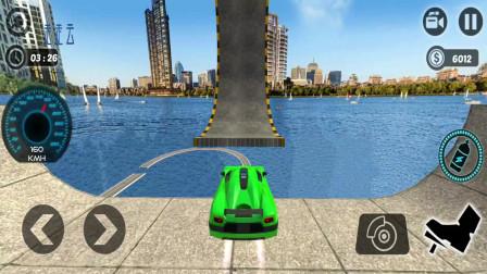 不可能的特技赛车,跑车冲上高空倒立的赛道,左右分不清了 走走云游戏解说