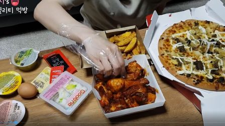 【hamzy】一口一个奥尔良鸡腿+披萨+爽口泡菜(爽快剪辑版/原版)