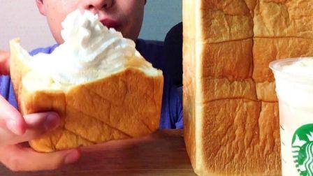 ☆ Yumaゆま ☆ 超人气高级生吐司店乃が美的生吐司面包配奶油、红豆酱、果酱、星巴克星冰乐 吃播咀嚼音(新)