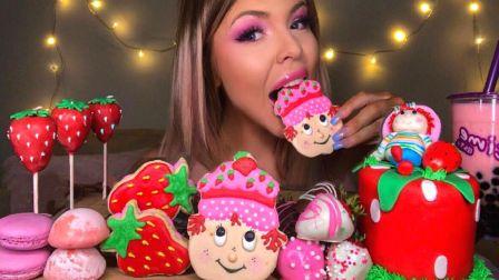 ☆ HunniBee ☆ 草莓主题甜点派对(麻薯冰淇淋、巧克力草莓、珍珠奶茶、糖霜涂层夹心饼干、棒棒蛋糕、马卡龙、娃娃糖霜蛋糕曲奇、翻糖蛋糕...