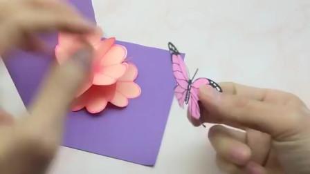 会弹出花球和蝴蝶的立体贺卡,太有创意了!2019新年卡片手工制作