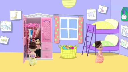 芭比玩捉迷藏的游戏,莎莎躲在了沙发后面,杰克躲在了衣柜里