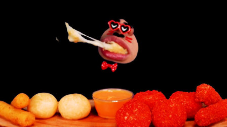 韩国吃播小哥吃普通的奶酪球和辣芝士球,好羡慕呀