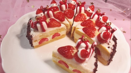 【粘土】用粘土做的圣诞草莓小蛋糕!sweetsdeco系列