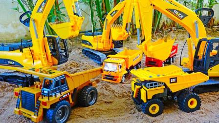 最新挖掘机视频表演10011大卡车运输挖土机+挖机工作+工程车