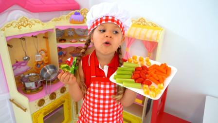 萌娃小可爱端出了一盘她最新研制的美食,小家伙们真会玩!—萌娃:健康食物,我的最爱!
