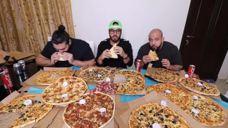 三个大胃王挑战10种披萨套餐,表面风平浪静,实际却在明争暗斗