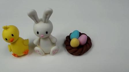 美女用翻糖制作复活节甜品,迷你鸟巢小彩蛋,还有小兔子