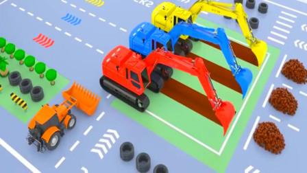 挖掘机推土机一起在城市建设房屋 挖掘机工作视频