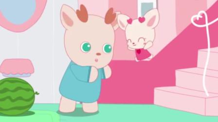 小鹿杏仁儿动画片:杏仁儿和爸爸一样,喜欢在夏天吃大西瓜,真是好甜呀