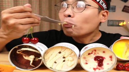吃播大胃王:小哥哥端起蛋糕盒子大口吃得太过瘾了,网友:甜食控受不了啊
