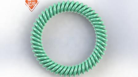 亦明图记:SolidWorks建模,异形弹簧圈,带斜度的圆圈怎么绘制?扫描轮廓偏转角度
