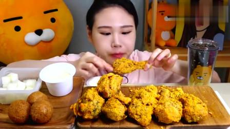 韩国大胃王卡妹吃播鸡腿奶酪棒炸鸡