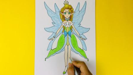 手绘《小花仙》雪滴花精灵王 雪铃简笔画上色过程 一起来画吧