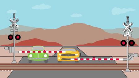 成长益智玩具,红绿灯指挥杆失灵,汽车在火车轨道两侧等待通行!